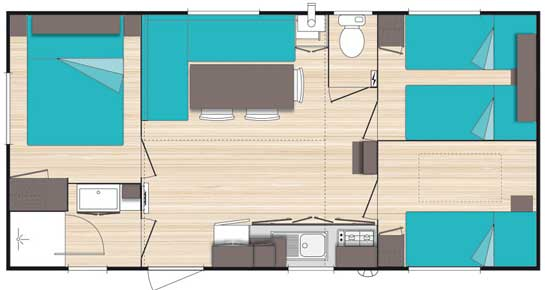 Plan de la location d'un grand mobil home en Camargue