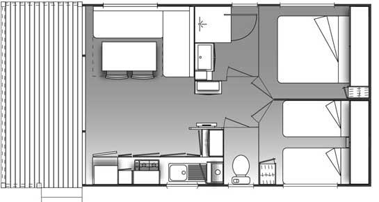 Plan d'un mobil home climatisé en région PACA