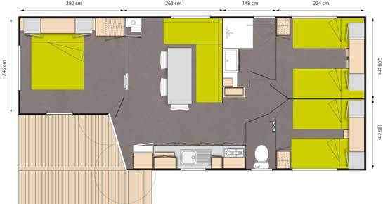 Plan d'une location de mobil home haute gamme dans les Bouches du Rhône
