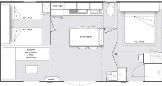 Plan d'une location d'un mobil home en Camargue